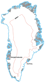 <p>A <strong>Full Crossing</strong> of <strong>Greenland</strong> or its ice sheet:</p> Example Image