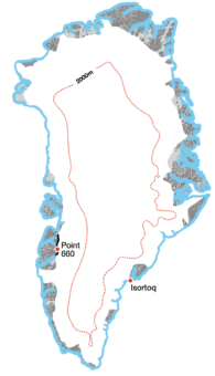 <p>A <strong>Crossing</strong> of <strong>Greenland</strong> or its ice sheet</p> Example Image